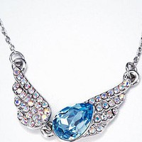 [$26.59 ] Pretty Wings Pendant With Austria Crystal Necklace Blue - Dressilyme.com
