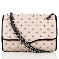 Taupe/Silver Studded Shoulder Bag