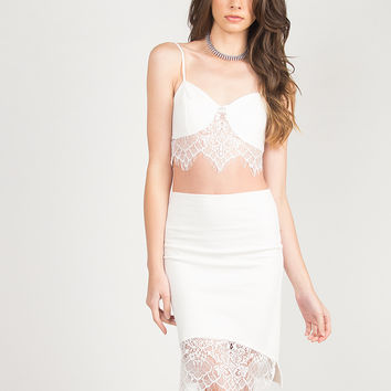 Lace Detail Bodycon Skirt - Ivory - Ivory /