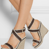 Tory Burch | Paloma leather and linen wedge sandals | NET-A-PORTER.COM
