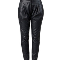 Pleated Leather Trousers - M / Black