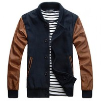 Navy Coffe Mens Varsity Letterman Jackets
