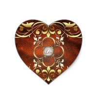 Emperor Amber Heart Stained Glass Love Sticker from Zazzle.com