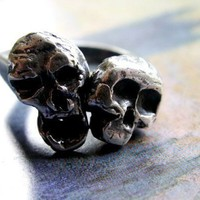 Skull Ring - Sterling Silver Artisan Metalwork, Mens or Unisex Band, Gothic or Tribal Jewelry... Catacombs