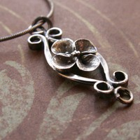 Flower Pendant and Filigree Necklace Sterling Silver  Sculpted Metalwork