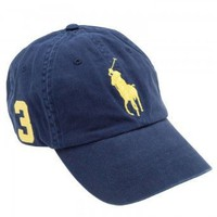 Polo Ralph Lauren Big Pony Hat Cap Navy with Yellow pony