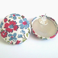 Blue and red floral large button earrings
