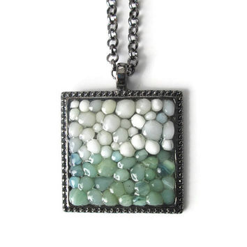 Color Block Pendant necklace with white and mint glass pebbles, hand made modern jewelry with gunmetal finish
