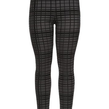 The Skinny Knit Pant With Textured Plaid Pattern - Black