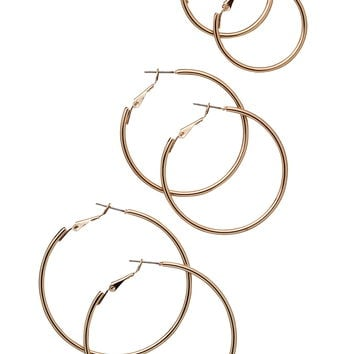 Gold-Colored Hoop Earring Trio - Gold