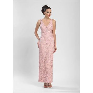 Embroidered Empire Waist Prom Dress in Rose by Sue Wong