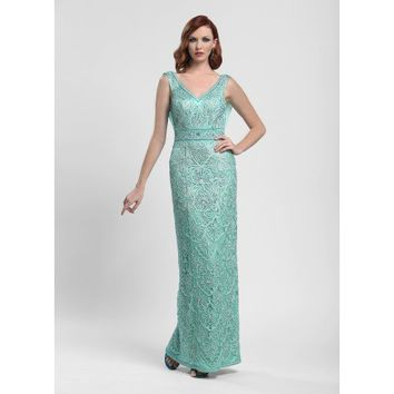 Embroidered Column Ball Gown Dress in Aqua by Sue Wong