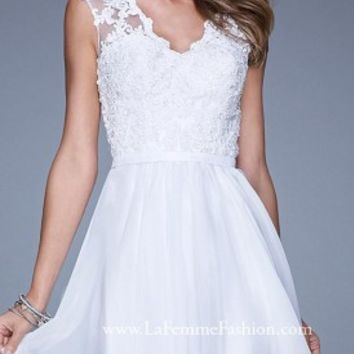 Romantic Sheer Lace Short Prom Dresses By La Femme