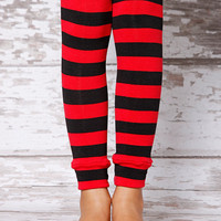 Leg Warmers - Red &amp; Black Stripe