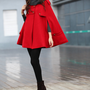 Red Coat Military Double Breasted Button Hooded Cashmere Coat Hoodie Wool Winter Cape Coat Hood Cloak Women Jacket - NC228