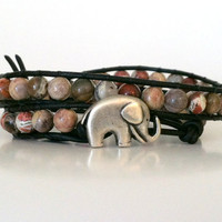 Silver Leaf Jasper Elephant Wrap Bracelet, Good Luck Elephant Button, Roll Tide, Alabama