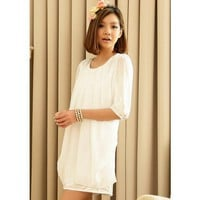 Women Popular Ivory  Chiffon Round Neck Middle Sleeves Two-Piece Pleated Dress M/L@MF3407i