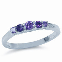 5-Stone Amethyst Purple CZ 925 Sterling Silver Ring RN0032791 SilverShake.com