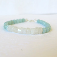 Moonstone and Amazonite Beaded Bracelet, Soft Pastels, Bohemian, June Birthstones, Handcrafted Stone Bracelet, Made in Canada