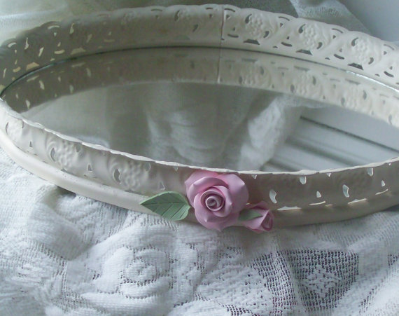 Filigree Vanity Mirror Tray Pink Roses by SeasideRoseCreations