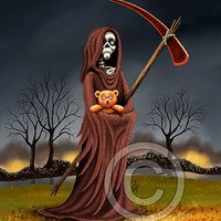 The Fear of Death - Grim Reaper Holding a Teddy Bear Fine Art Print By vanAnnies