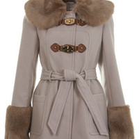 Beige PU Strap Detail Coat - Coats & Jackets  - Apparel