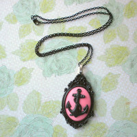 Black Anchor Resin Necklace, Anchor Jewelry, Anchor Necklace