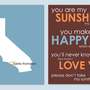 "You Are My Sunshine - State Silhouette Heart Print - Modern Nursery Art Custom Baby Gift- set of two 8""x10s"""