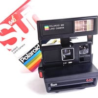 Vintage Polaroid Camera -  Polaroid Sun 640 Instant Land Camera with Original Box / Iconic Rainbow