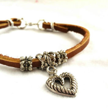 Leather Charm Bracelet, Wire Wrapped, Heart Charm, 7 inch, Brown Cuff, Rustic Country Western
