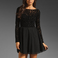 Motel Cillia Dress in Black Baroque Flocking from REVOLVEclothing.com