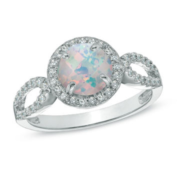 7.0mm Lab-Created Opal and White Sapphire Ring in Sterling Silver