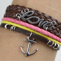 Port of love,retro silver love letters and anchor bracelet,yellow braid leather bracelet,brown leather