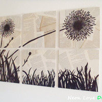 FREE SHIPPING - Upcycled Antiqued Book Page Wall Art