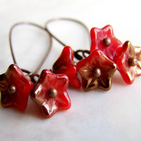 Fire Red Earrings with Petite Flowers of Red and Copper Czech Glass Beads