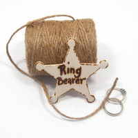 Rustic Wedding RING BEARER badge. Lapel pin. Western country wedding.