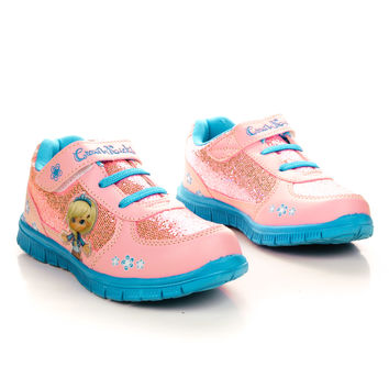 807K Children's Girl Round Toe Lace Up Sparkling Athletic Sneaker Shoes