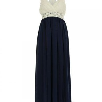 Chiffon Halter Maxi Dress with Embroidered Waist