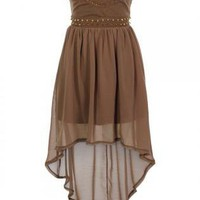 Brown Strapless Chiffon Hi-Lo Dress with Stud Embellishment