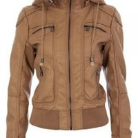 Tan Faux Leather Hoodie Jacket with Leopard Print Lining