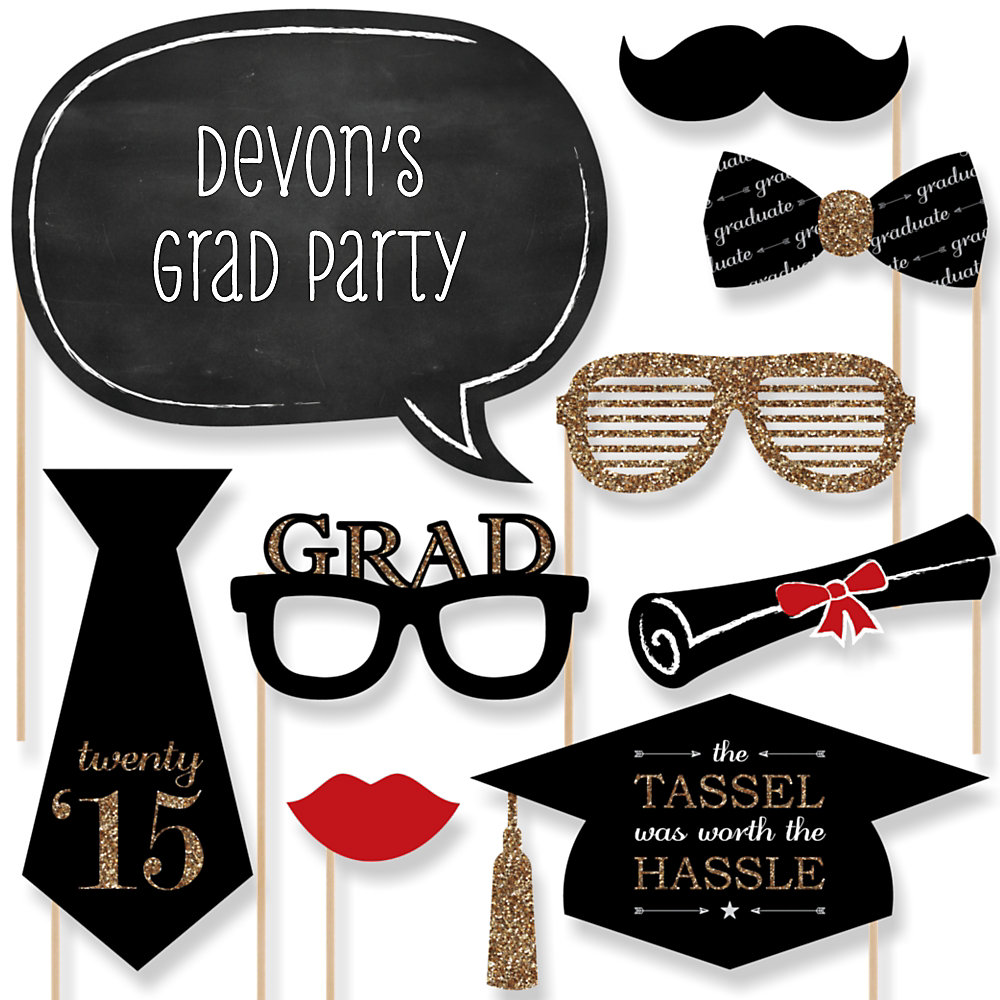 Graduation Party Photo Booth Props Kit from Big Dot of Happiness