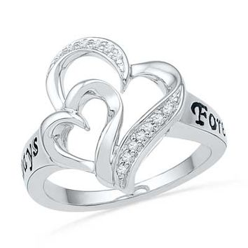 Diamond Accent Double Heart Ring in Sterling Silver (2 Names)