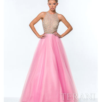 Terani Pink Illusion Crystal Top Ball Gown Prom 2015