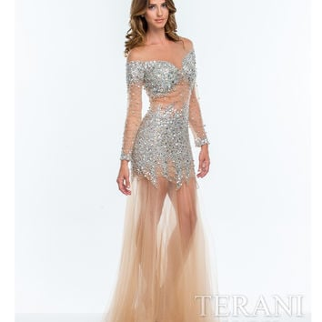 Terani Nude Glamorous Embellished Illusion Gown  Prom 2015
