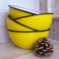 Vintage Yellow Black White Enamel Bowls  Poland  by NorScott