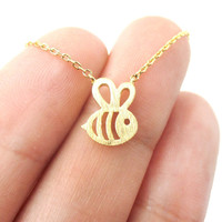 Adorable Bumble Bee Insect Shaped Charm Necklace in Gold   Animal Jewelry - Bumble Bee Charm Necklace in Gold
