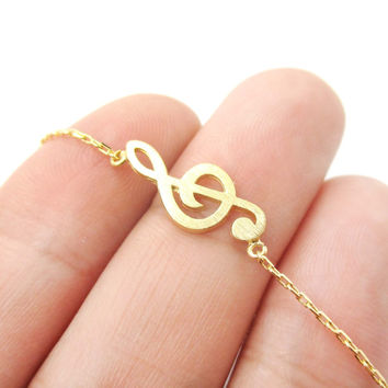 Classic Musical Note Treble Clef Shaped Music Themed Charm Necklace in Gold - Treble Clef Charm Necklace in Gold