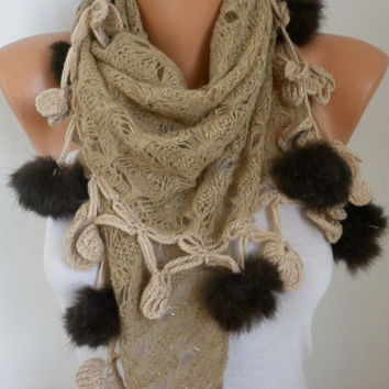 New Year's Fashion Beige Scarf Valentine's Day Gift Winter Accessories Shawl Cowl Scarf Gift Ideas For Her Women Fashion Accessories