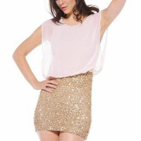 Gold Sequin Skirt Dress with Chiffon Sleeveless Top