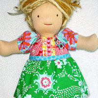 15 inch Waldorf doll dress, M2M Matilda Jane Maggie Mae peasant dress, Designer fabrics green pink blue - Robe poupe - Ready to ship